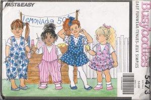 Children's Jumper & Jumpsuit Sewing Pattern Size 5-6x Butterick 5473 UNCUT