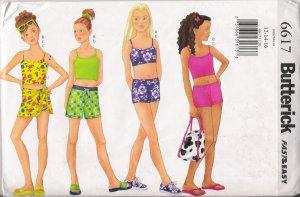 Girls' Top, Shorts, Wrap & Bag Sewing Pattern Size 12-16 Butterick 6617 UNCUT