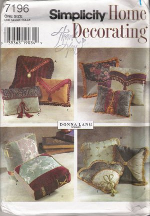 Decorative Throw Pillows Sewing Pattern Simplicity 7196 UNCUT