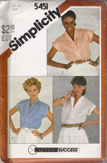 Vintage Sewing Pattern Misses' Shirts 1982 Size 16 Simplicity 5451 UNCUT