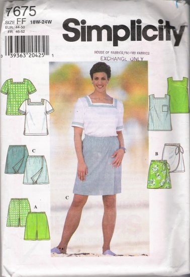 Women's Top & Shorts Plus Size Sewing Pattern Size 18-24 Simplicity 7675 UNCUT