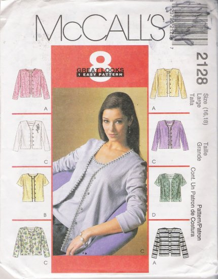 Misses' Cardigan & Top Sewing Pattern Size 16, 18 McCall's 2128 UNCUT