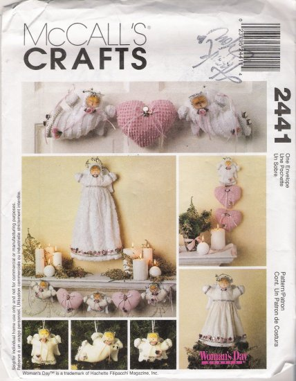 Angel Tree Topper, Wall Decorations, Ornaments, Garland Sewing Pattern McCall's 2441 UNCUT