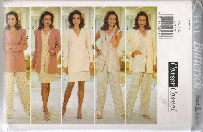 Misses' Top, Skirt & Pants Sewing Pattern Size XS-M Butterick 4451 UNCUT