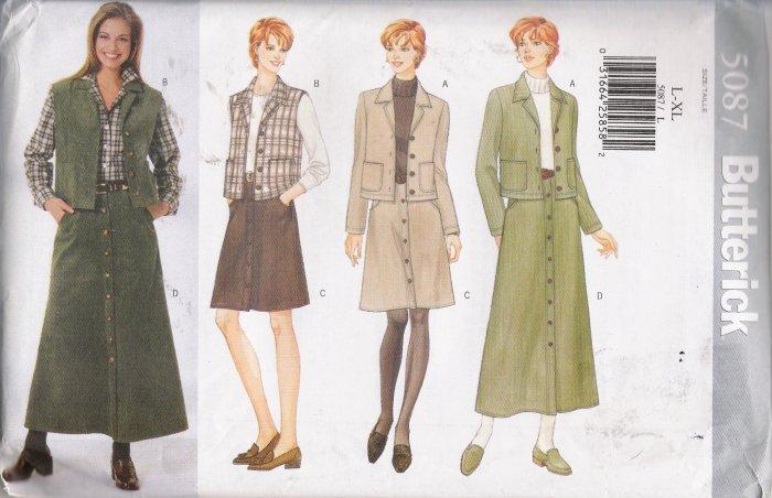 Misses' Jacket Vest Skirt Sewing Pattern Size L-XL Butterick 5087 UNCUT