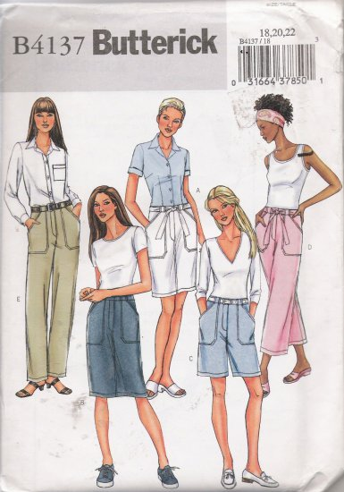 Misses' Skirt, Shorts, Pants, Belt Sewing Pattern Size 18-22 Butterick 4137 UNCUT