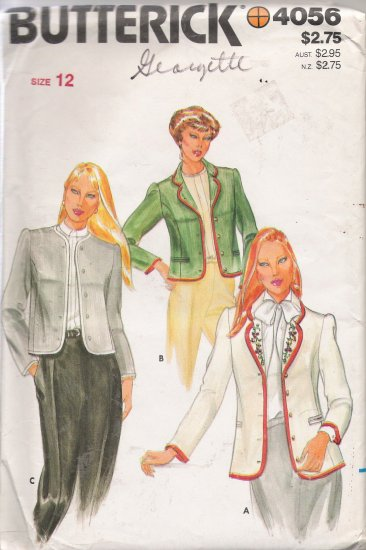 Vintage Sewing Pattern Misses' Jacket & Transfer Size 12 Butterick 4056 UNCUT