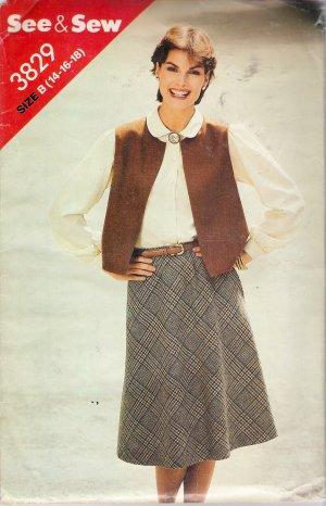 Vintage Sewing Pattern Misses' Vest & Skirt Size 14-18 Butterick 3829 UNCUT