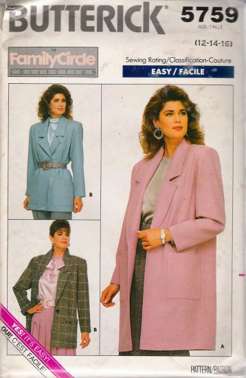Vintage Sewing Pattern Misses' Jacket Size 12-16 Butterick 5759 UNCUT