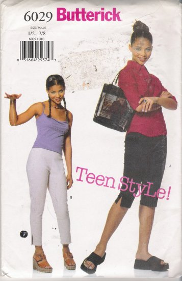 Juniors' Pants Sewing Pattern Size 1/2-7/8 Butterick 6029 UNCUT