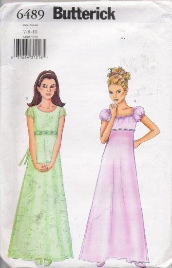 Girls' Dress Sewing Pattern Size 7-10 Butterick 6489 UNCUT