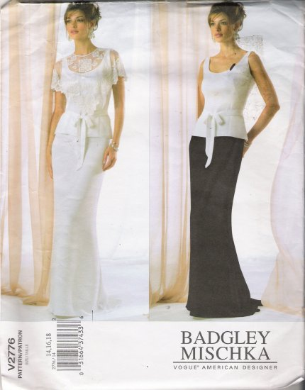 Misses' Capelet Top Belt Skirt Sewing Pattern Size 14-18 Vogue 2776 UNCUT