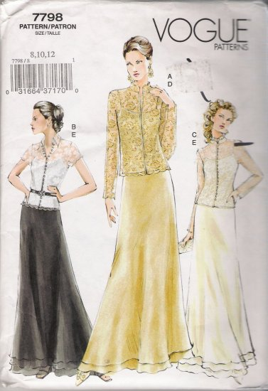 Misses' Top Camisole Skirt Sewing Pattern Size 8-12 Vogue 7798 UNCUT