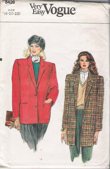 Vintage Sewing Pattern Misses' Jacket Size 18-22 Vogue 8426 UNCUT