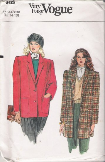 Vintage Sewing Pattern Misses' Jacket Size 12-16 Vogue 8426 UNCUT