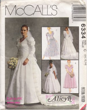 Misses' Bridal Gowns & Bridesmaids' Dresses Sewing Pattern Size 10-14 McCall's 6334 UNCUT
