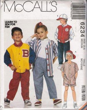Children's Jacket Shirt Pants Shorts Hat Sewing Pattern Size 3-4 McCall's 6234 UNCUT