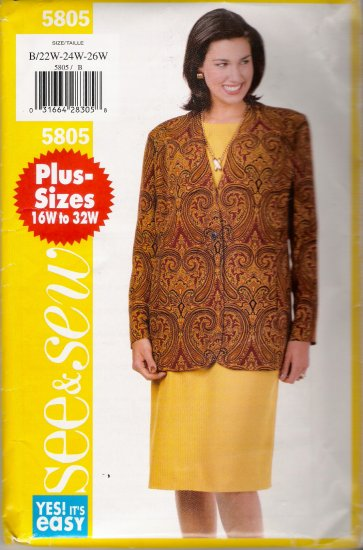Women's Jacket & Dress Plus Size Sewing Pattern Size 22-26 Butterick 5805 UNCUT