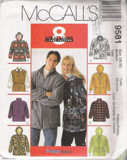 Misses' & Men's Unisex Jacket Sewing Pattern Size M McCall's 9581 UNCUT
