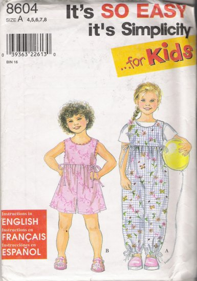 Child's Romper Sewing Pattern Size 4-8 Simplicity 8604 UNCUT