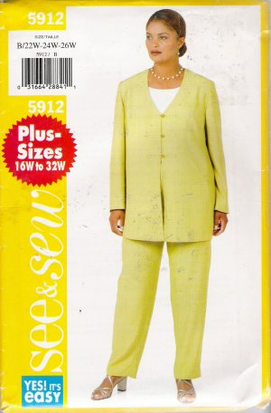 Women's Tunic & Pants Plus Size Sewing Pattern Size 22-26 Butterick 5912 UNCUT