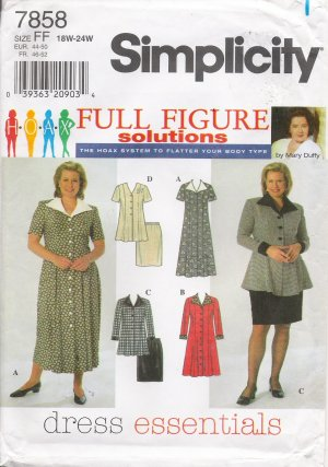 Women's Dress Top Skirt Sewing Pattern Size 18-24 Simplicity 7858 UNCUT