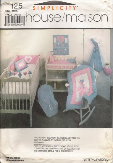 Vintage Sewing Pattern Baby Room Accessories Simplicity 125 UNCUT