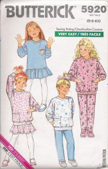 Children's Dress Top Skirt Pants Sewing Pattern Size 5-6X Butterick 5920 UNCUT