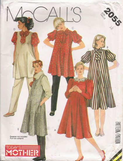 Maternity Dress Blouse Jumper Top Pants Sewing Pattern Size 18 McCall's 2055 UNCUT