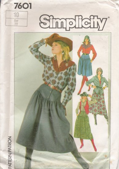 Misses' Skirt Shirt Vest Sewing Pattern Size 10 Simplicity 7601 UNCUT