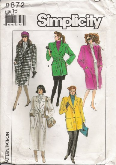Misses' Lined Coat Sewing Pattern Size 16 Simplicity 8872 UNCUT