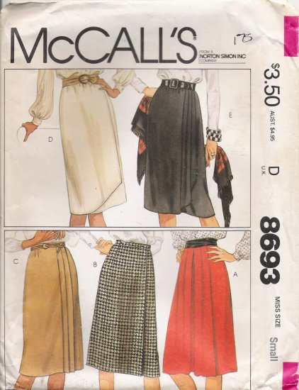 Misses' Wrap Skirts Sewing Pattern Size 10-12 McCall's 8693 UNCUT