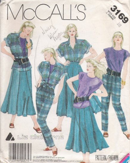 Misses' Shirt Top Skirt Pants Sewing Pattern Size 18 McCall's 3169 UNCUT