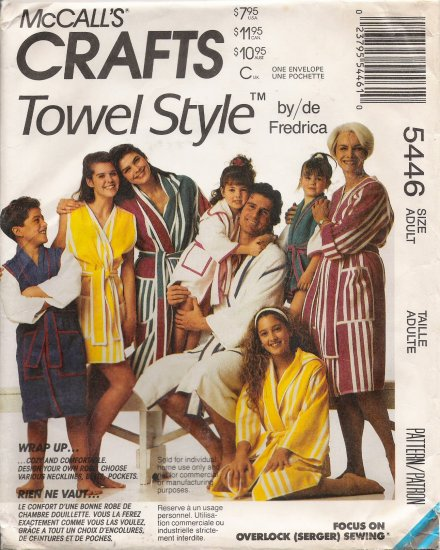 Misses' & Men's Robes Sewing Pattern Size S-XL McCall's 5446 UNCUT