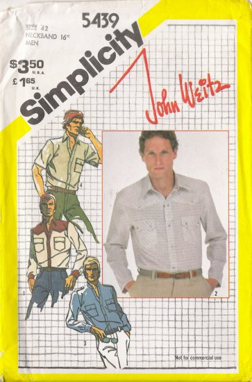 Vintage Sewing Pattern Men's Western Style Shirt Size 42 Simplicity 5439 UNCUT