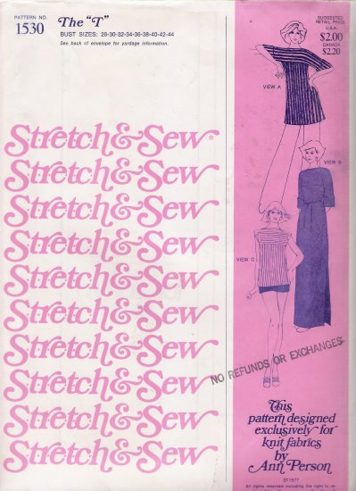 "Vintage Sewing Pattern The ""T"" Dress & Top Bust Sizes 28-44 Stretch & Sew 1530 UNCUT"