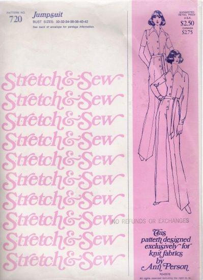 Vintage Sewing Pattern Jumpsuit Bust Sizes 30-42 Stretch & Sew 720 UNCUT