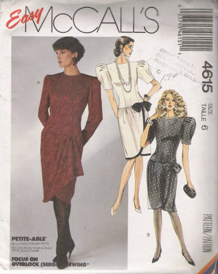 Misses' Dress Sewing Pattern Size 6 McCall's 4615 UNCUT