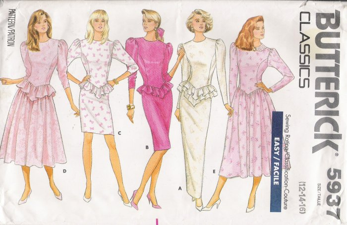 Misses' Dress Sewing Pattern Size 12-16 Butterick 5937 UNCUT