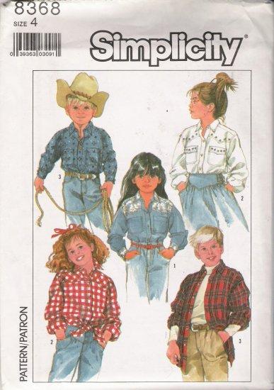 Child's Western Shirt Sewing Pattern Size 4 Simplicity 8368 UNCUT