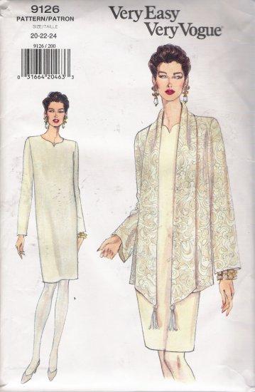 Misses' Jacket & Dress Sewing Pattern Size 20-24 Vogue 9126 UNCUT