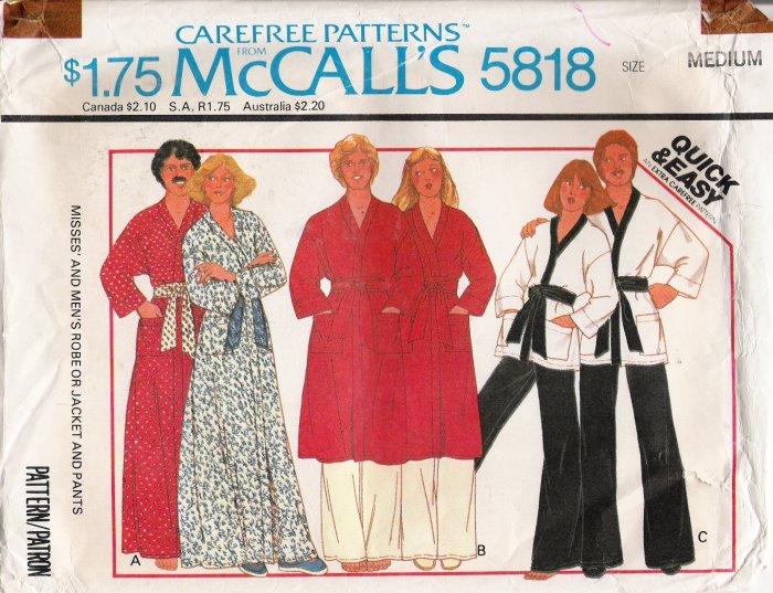 Vintage Sewing Pattern Misses' & Men's Robe Jacket Pants Size 36-38 McCall's 5818 UNCUT