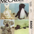 Vintage Sewing Pattern Set Of Stuffed Animals McCall's 6400 UNCUT