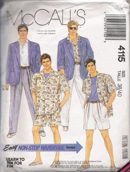 Men's Jacket Shirt Pants Shorts Sewing Pattern Size 38-40 McCall's 4115 UNCUT