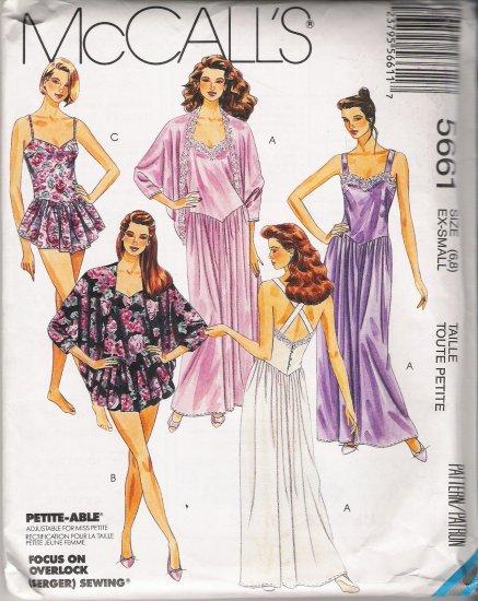Misses' Sleepwear Sewing Pattern Size 6-8 McCall's 5661 UNCUT