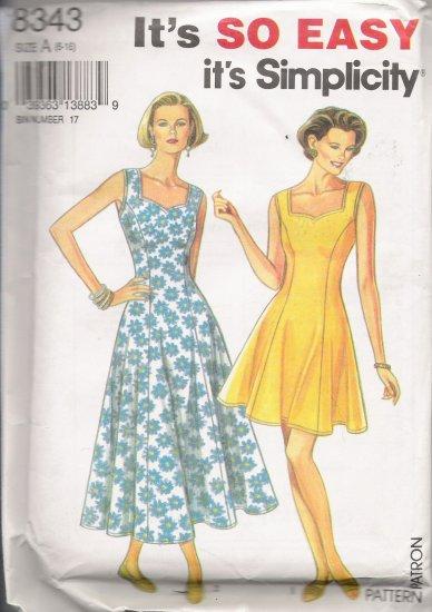 Misses' Dress Sewing Pattern Size 6-16 Simplicity 8343 UNCUT