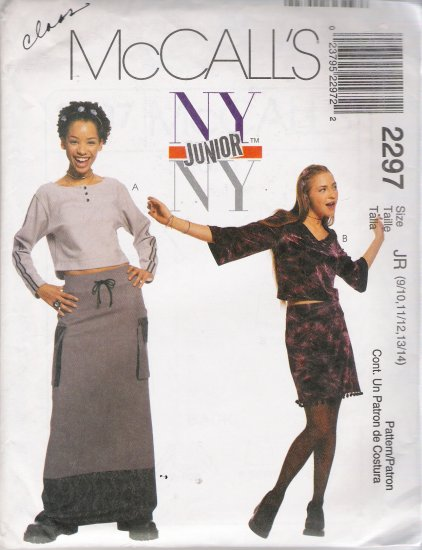 Juniors' Tops Skirts Sewing Pattern Size 9/10-13/14 McCall's 2297 UNCUT