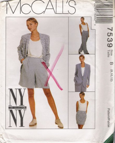 Misses' Jacket Skirt Pants Shorts Tank Top Sewing Pattern Size 8-12 McCall's 7539 UNCUT