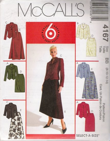 Misses' Jackets & Skirts Sewing Pattern Size 8-14 McCall's 4167 UNCUT