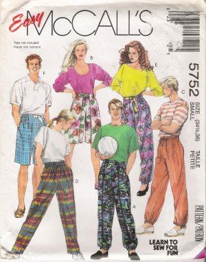 Misses', Men's Or Teen Boys Pants Shorts Sewing Pattern Size Small McCall's 5752 UNCUT